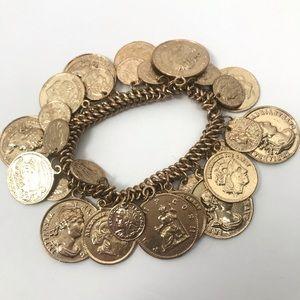 Vintage Metal Faux Gold & Coin Charm  Bracelet